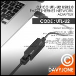 Orico UTL-U2 USB2.0 Fast Ethernet Network Adapter
